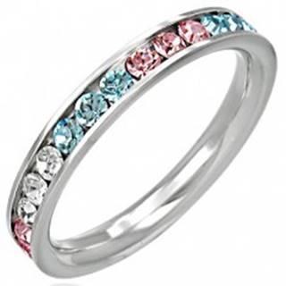 Oceľový prsteň - zirkóny v troch farbách - Veľkosť: 49 mm