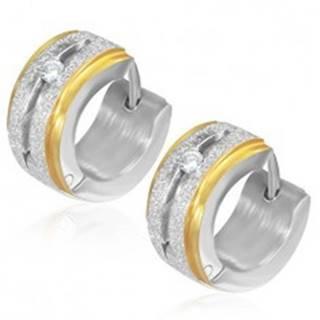 Okrúhle pieskované náušnice z ocele so zirkónom, okraje zlatej farby