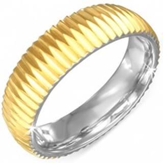 Prsteň zlatej farby z chirurgickej ocele - vrúbkovaný - Veľkosť: 57 mm