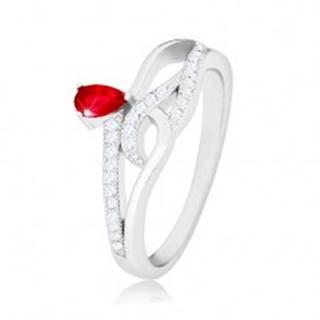 Prsteň zo striebra 925, červený slzičkový zirkón, zvlnené zirkónové línie K08.07 - Veľkosť: 56 mm