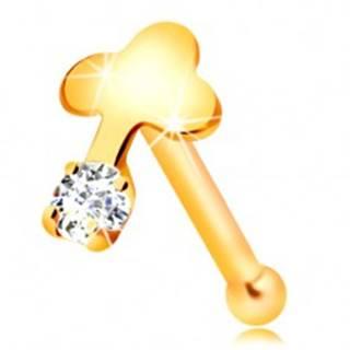 Rovný piercing do nosa v žltom 14K zlate, číry zirkón a lesklý krížik