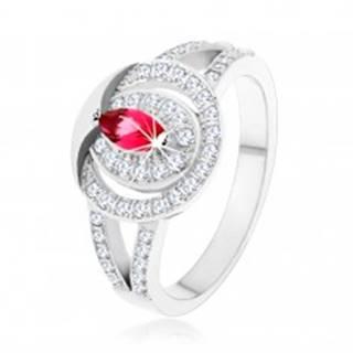 Strieborný 925 prsteň, číra zirkónová obruč s ružovým zirkónom - Veľkosť: 49 mm