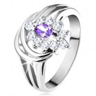 Trblietavý prsteň, zirkóny v ametystovom a čírom odtieni, rozdelené ramená - Veľkosť: 48 mm