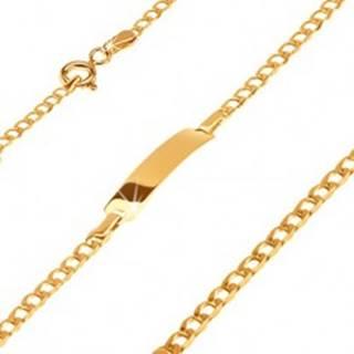 Zlatý 585 náramok s platničkou - ligotavé drobné oválne očká, 160 mm
