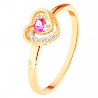 Zlatý prsteň 585 - ružové zirkónové srdiečko v dvojitom obryse - Veľkosť: 49 mm