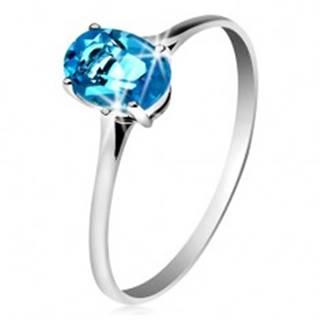 Zlatý prsteň 585 s oválnym ligotavým topásom modrej farby, tenké ramená GG204.52/59 - Veľkosť: 49 mm