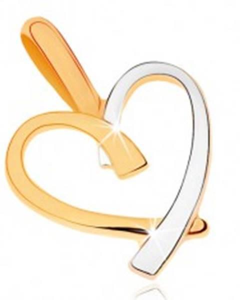 Dvojfarebný prívesok v 9K zlate - kontúra nepravidelného srdca GG70.03