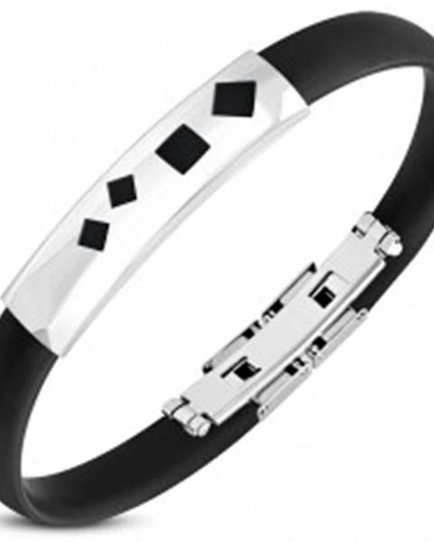 Náramok z čiernej gumy, oceľová známka so štvorcovými výrezmi