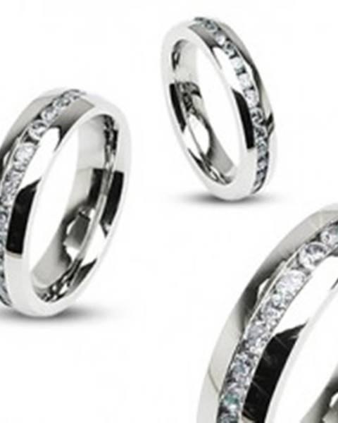 Obrúčka z ocele, strieborná farba, súvislá línia čírych zirkónov po obvode, 6 mm - Veľkosť: 49 mm