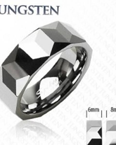 Obrúčka z wolfrámu striebornej farby, geometricky brúsený povrch, 6 mm - Veľkosť: 49 mm