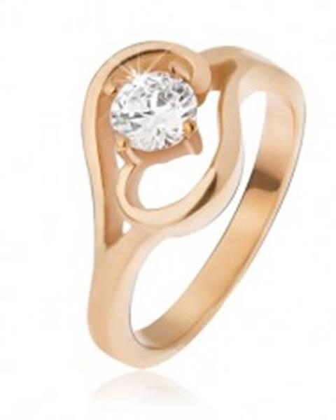 Oceľový prsteň zlatej farby, ramená ukončené vlnkou, číry zirkón - Veľkosť: 49 mm