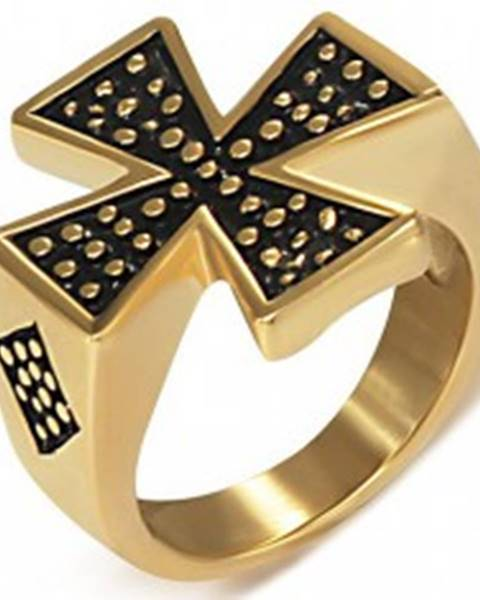 Pečatný prsteň z ocele zlatej farby - Maltézsky kríž - Veľkosť: 51 mm