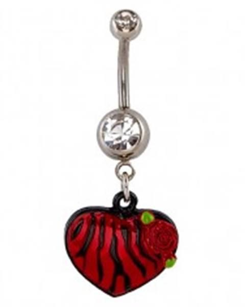 Piercing do pupku - červenočierne zebrované srdce, ruža