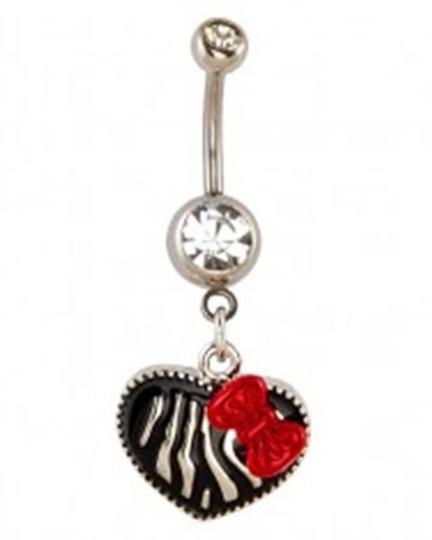 Piercing do pupku - srdce, vzor zebra a mašľa