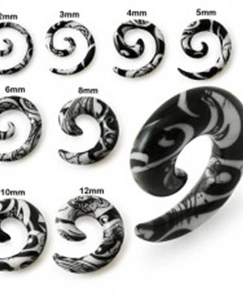 Špirálový expander do ucha bielej farby, čierny ornament - Hrúbka: 10 mm