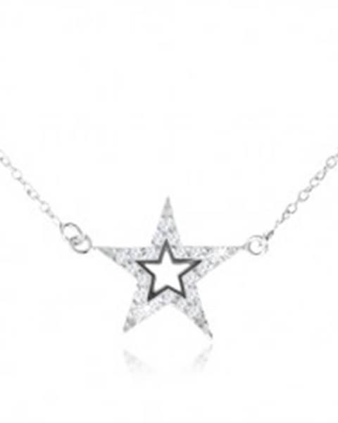 Strieborný 925 náhrdelník, päťcípa zirkónová hviezda s výrezom