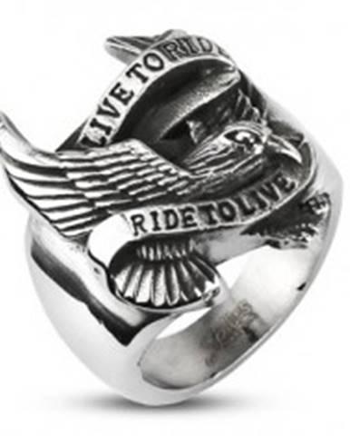 Prsteň z ocele s motívom orla a nápisom D14.9 - Veľkosť: 59 mm