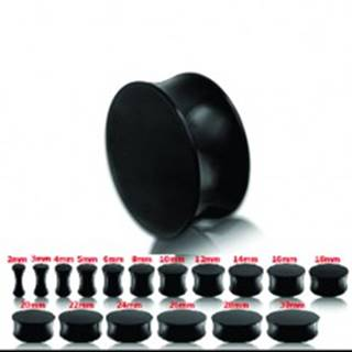 Čierny lesklý sedlový plug do ucha - Hrúbka: 10 mm