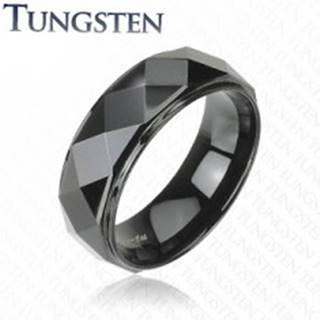 Čierny prsteň z wolfrámu, vyvýšený pás s lesklým brúseným povrchom, 8 mm - Veľkosť: 49 mm