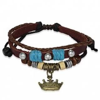 Kožený náramok s drevenými korálkami, kráľovská koruna T17.10