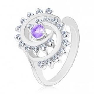 Ligotavý prsteň s ozdobnou špirálou s čírym lemom, svetlofialový zirkón - Veľkosť: 52 mm