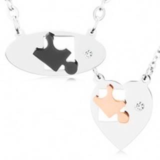 Náhrdelníky z chirurgickej ocele pre dvoch, ovál a srdce, dieliky puzzle, zirkón U22.4
