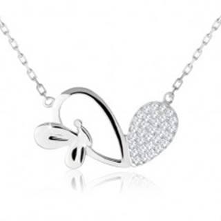Nastaviteľný náhrdelník, asymetrické srdce, lesklý motýlik, striebro 925