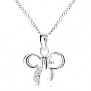 Nastaviteľný náhrdelník, mašlička zdobená čírymi zirkónikmi, striebro 925