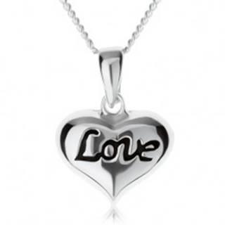 """Nastaviteľný náhrdelník, srdiečko s nápisom """"Love"""", striebro 925 SP60.26"""