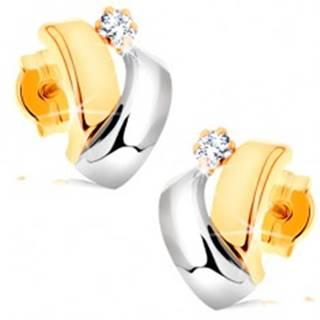 Náušnice v kombinovanom 14K zlate - dvojfarebné oblúčiky, okrúhly zirkónik