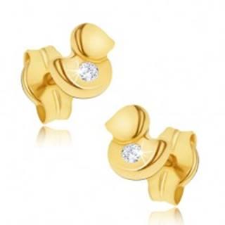 Náušnice v žltom 14K zlate - maličká ligotavá kačička, číry zirkón