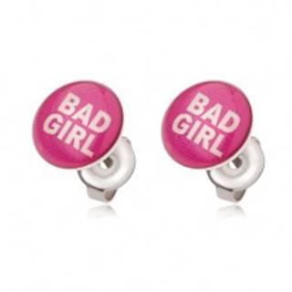 Oceľové náušnice ružovej farby, Bad Girl