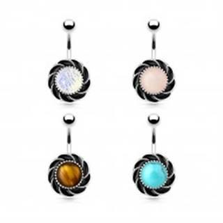 Oceľový piercing do bruška, kvet s čiernymi lupeňmi a okrúhlym stredom - Farba piercing: Dúhová