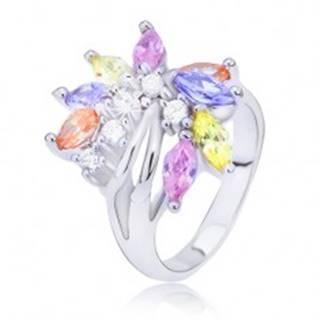 Oceľový prsteň s farebným zirkónovým vejárom L11.08 - Veľkosť: 48 mm