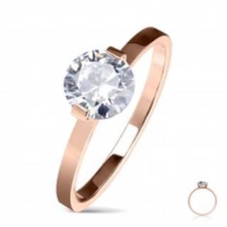 Oceľový zásnubný prsteň medenej farby, okrúhly číry zirkón, lesklé ramená - Veľkosť: 50 mm