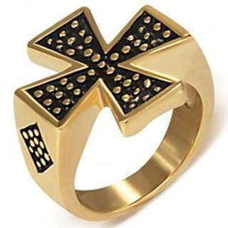 Pečatný prsteň z ocele zlatej farby - Maltézsky kríž K12.17 - Veľkosť: 51 mm