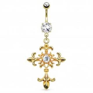 Piercing do bruška z ocele 316L, zlatá farba, ľaliový kríž, zirkóny