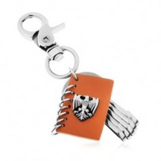 Prívesok na kľúče s patinovaným povrchom, hnedá umelá koža, znak orla
