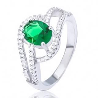 Prsteň zo striebra 925, zdvojená zirkónová vlnka, oválny zelený kamienok - Veľkosť: 51 mm