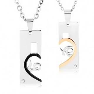 """Sada oceľových náhrdelníkov, známky s výrezmi, rozdelený nápis """"love"""""""