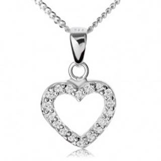 Strieborný 925 náhrdelník, číra zirkónová kontúra súmerného srdiečka