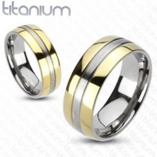 Titánový prsteň - zlatá a strieborná farebná kombinácia - Veľkosť: 49 mm