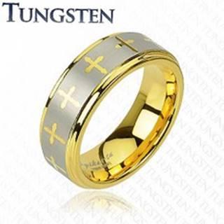 Tungstenový prsteň v zlatom odtieni, krížiky a pás striebornej farby, 8 mm - Veľkosť: 49 mm
