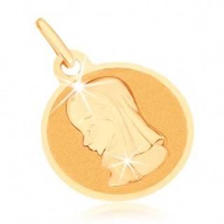 Zlatý prívesok 375 - okrúhly plochý medailón, Panna Mária GG70.09