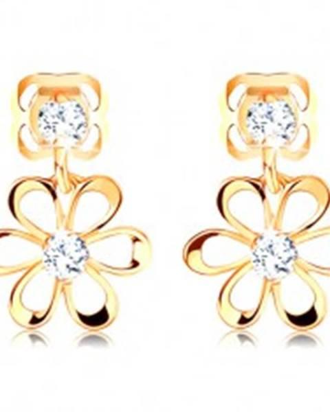 Diamantové náušnice v žltom 14K zlate - kvietok s oblými lupeňmi, číre brilianty