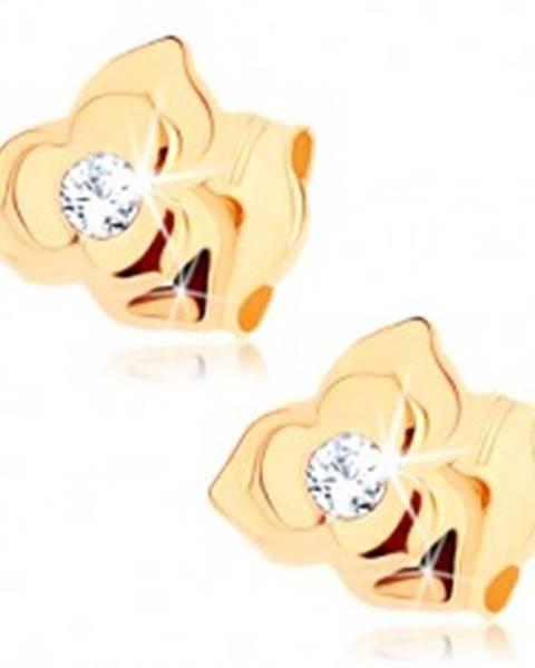 Náušnice v žltom 9K zlate - kvietok so zdvojenými lupeňmi, číry zirkón