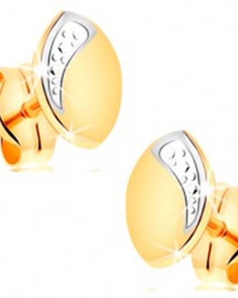 Náušnice zo 14K zlata - dvojfarebné zrnko s líniou drobných bodiek