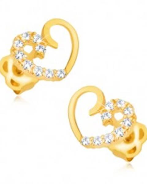 Náušnice zo žltého 14K zlata - kontúra symetrického srdca, polovica s briliantmi