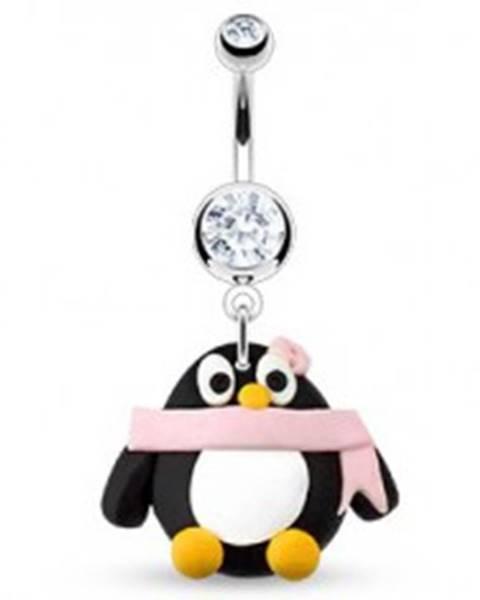 Piercing do pupka - tučniačik, ružový šál a kvet, zirkóny