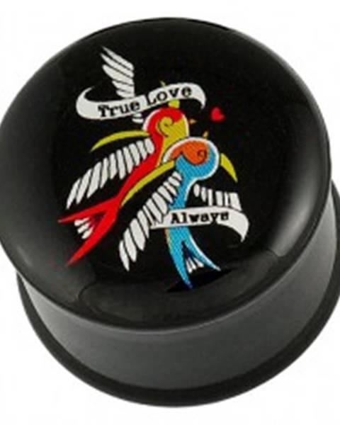 Plug do ucha - dva vtáčiky, stužka a zamilovaný nápis - Hrúbka piercingu: 10 mm